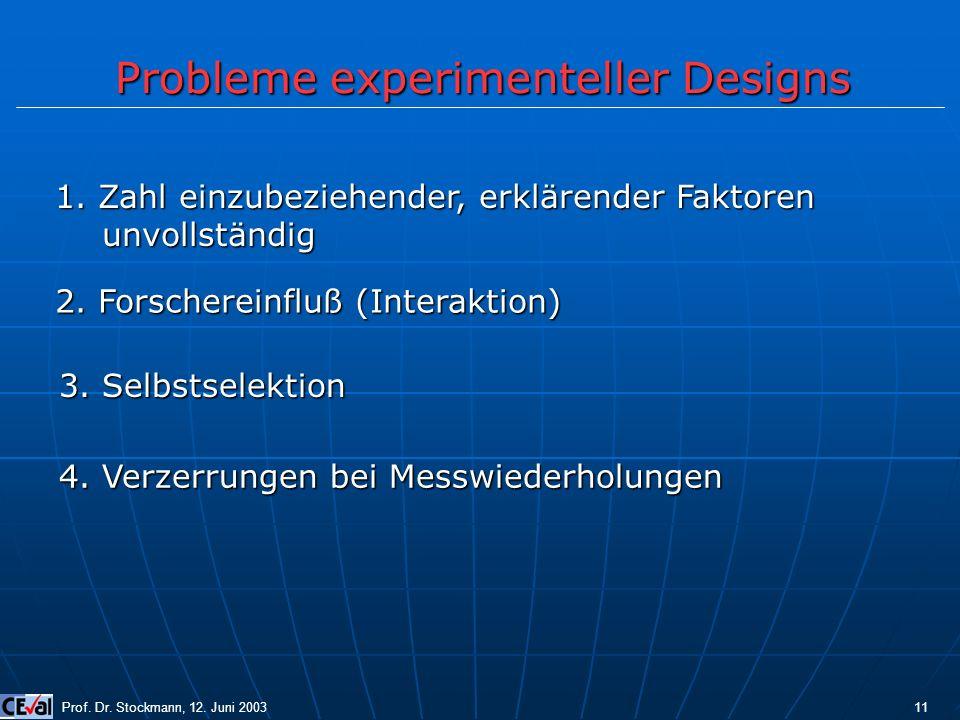 Probleme experimenteller Designs Prof. Dr. Stockmann, 12. Juni 2003 11 1. Zahl einzubeziehender, erklärender Faktoren unvollständig 2. Forschereinfluß