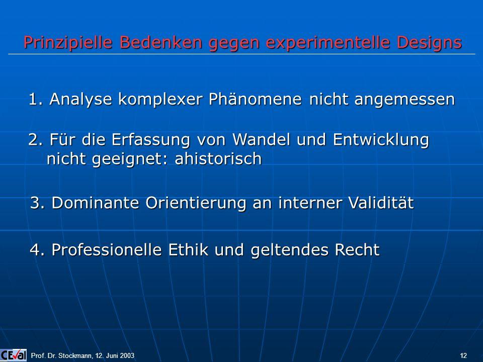 Prinzipielle Bedenken gegen experimentelle Designs Prof. Dr. Stockmann, 12. Juni 2003 12 1. Analyse komplexer Phänomene nicht angemessen 2. Für die Er