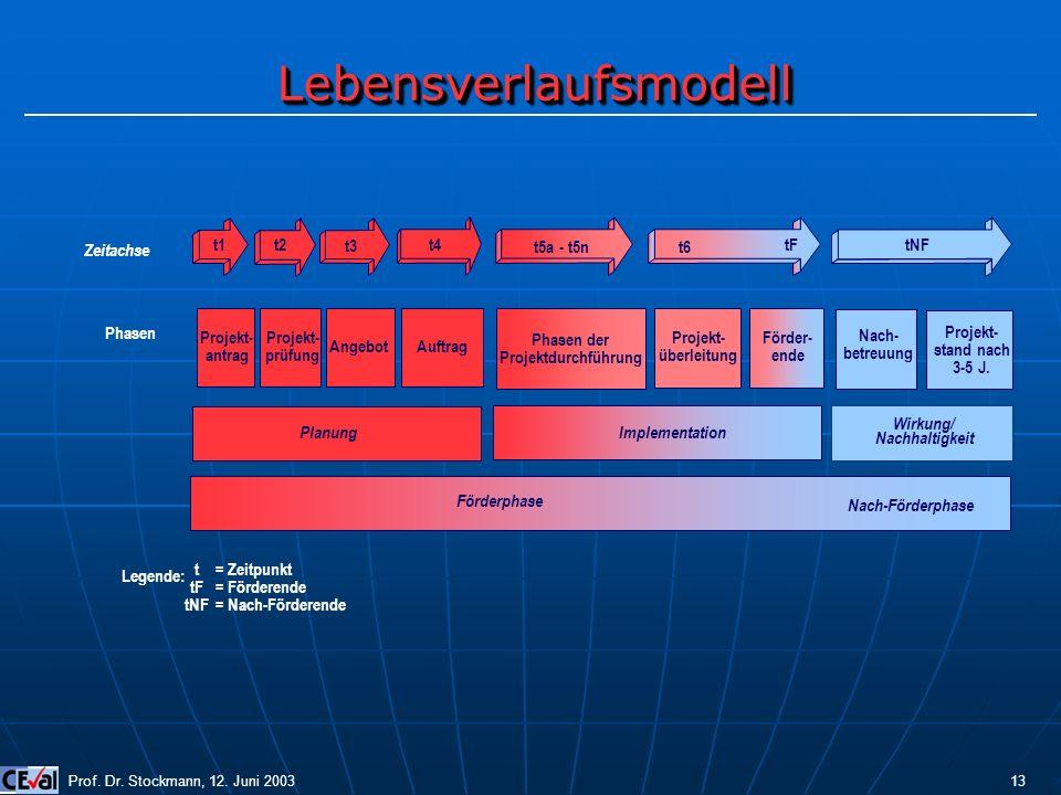 LebensverlaufsmodellLebensverlaufsmodell Legende: t tF tNF = Zeitpunkt = Förderende = Nach-Förderende Zeitachse tF t1t2 t3 t4 t5a - t5nt6 tNF Projekt-