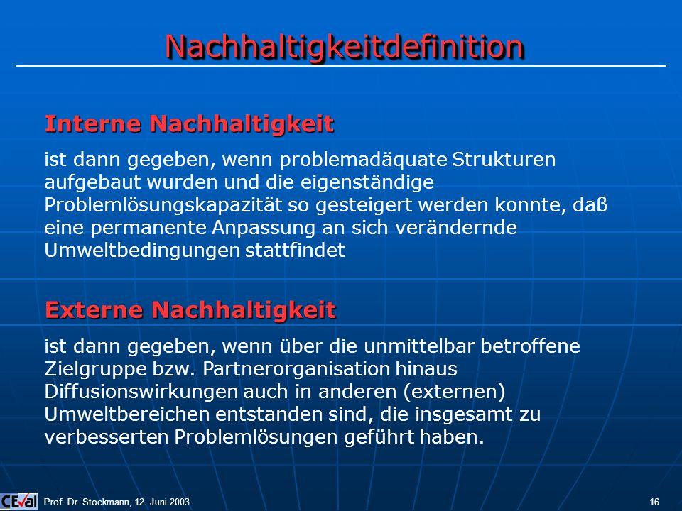 NachhaltigkeitdefinitionNachhaltigkeitdefinition Prof. Dr. Stockmann, 12. Juni 2003 16 Interne Nachhaltigkeit ist dann gegeben, wenn problemadäquate S