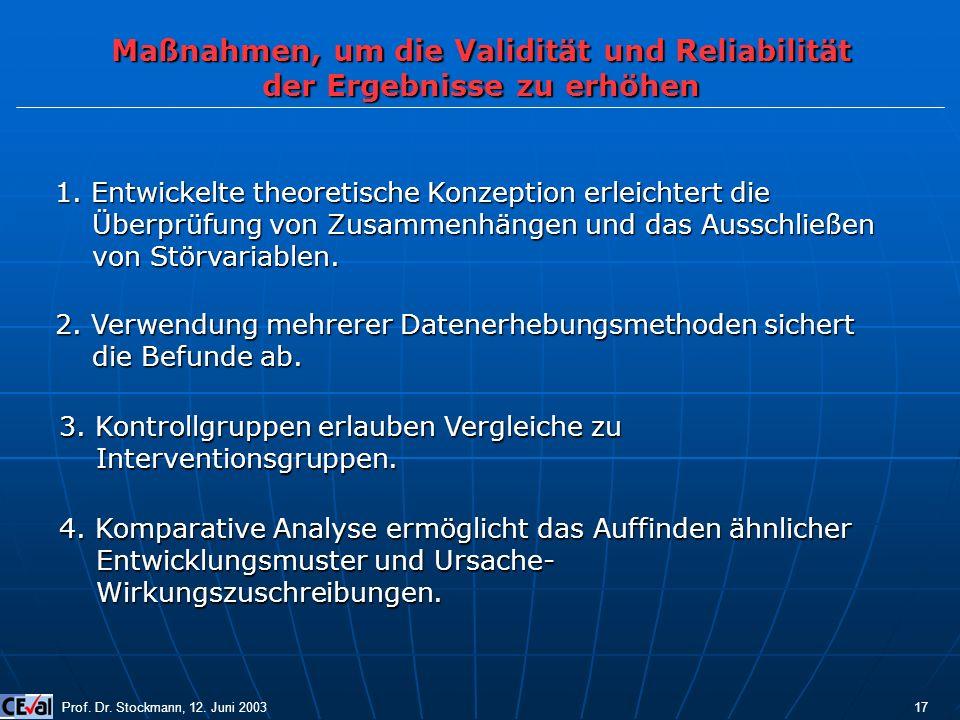 Maßnahmen, um die Validität und Reliabilität der Ergebnisse zu erhöhen Prof. Dr. Stockmann, 12. Juni 2003 17 1. Entwickelte theoretische Konzeption er