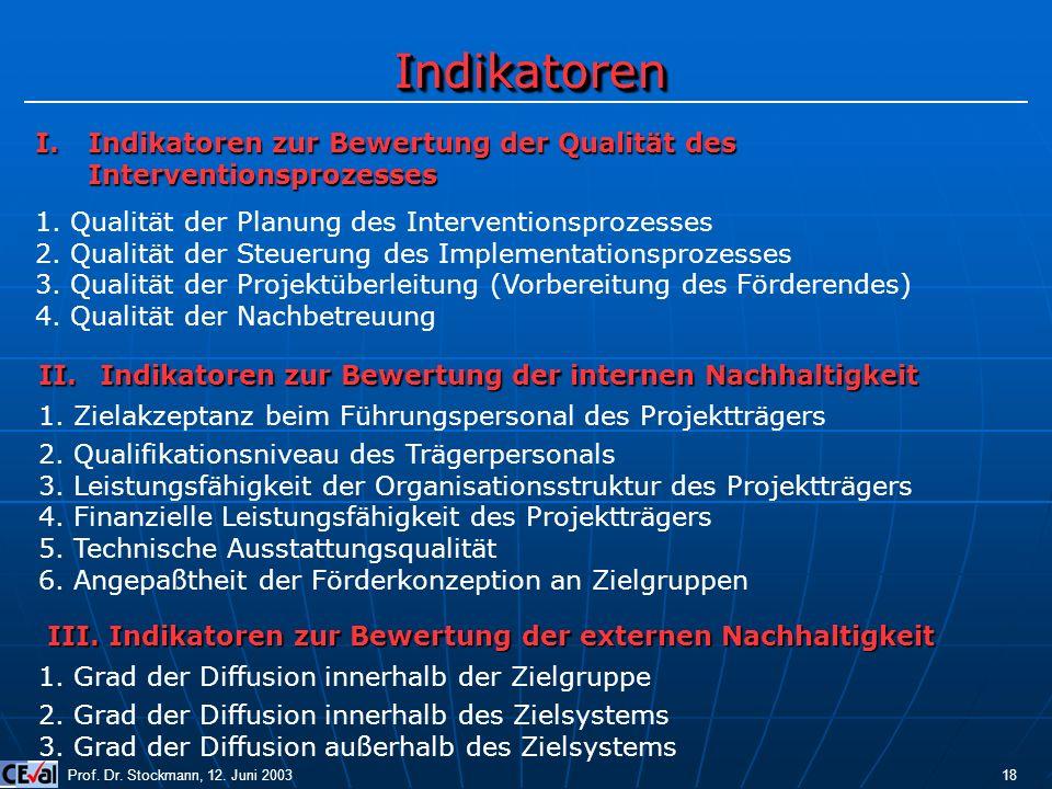 IndikatorenIndikatoren Prof. Dr. Stockmann, 12. Juni 2003 18 I.Indikatoren zur Bewertung der Qualität des Interventionsprozesses 1. Qualität der Planu