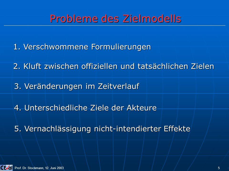Probleme des Zielmodells Prof. Dr. Stockmann, 12. Juni 2003 5 1. Verschwommene Formulierungen 2. Kluft zwischen offiziellen und tatsächlichen Zielen 3