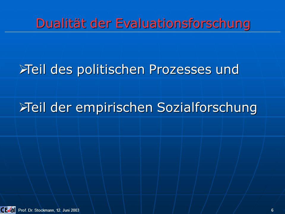 Dualität der Evaluationsforschung Prof. Dr. Stockmann, 12. Juni 2003 6 Teil des politischen Prozesses und Teil des politischen Prozesses und Teil der