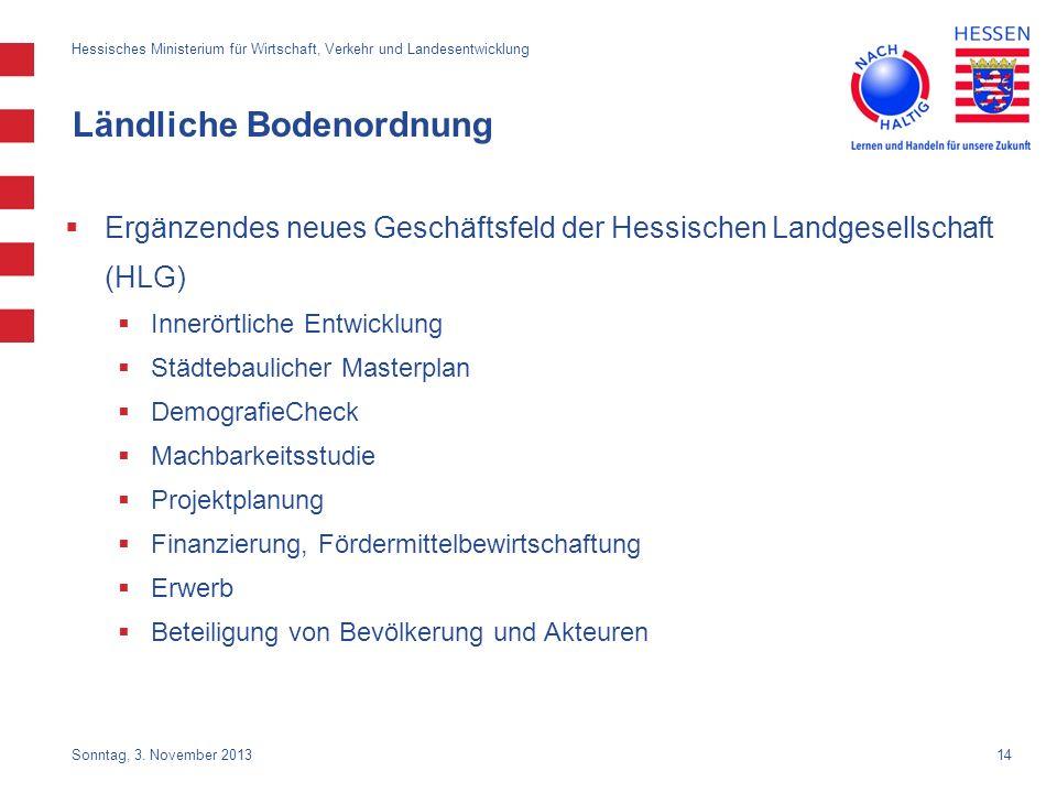 14 Ländliche Bodenordnung Ergänzendes neues Geschäftsfeld der Hessischen Landgesellschaft (HLG) Innerörtliche Entwicklung Städtebaulicher Masterplan D