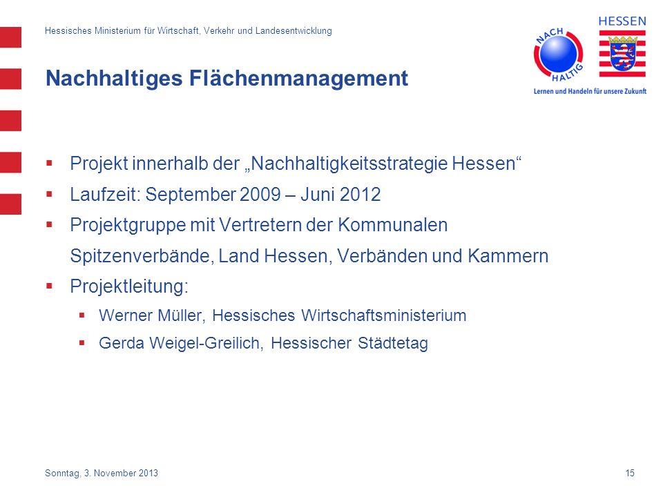 15 Nachhaltiges Flächenmanagement Projekt innerhalb der Nachhaltigkeitsstrategie Hessen Laufzeit: September 2009 – Juni 2012 Projektgruppe mit Vertret