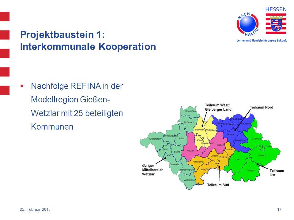 17 Projektbaustein 1: Interkommunale Kooperation Nachfolge REFINA in der Modellregion Gießen- Wetzlar mit 25 beteiligten Kommunen 25. Februar 2010