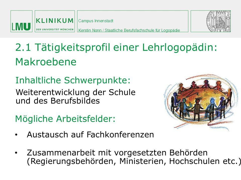 Campus Innenstadt Kerstin Nonn / Staatliche Berufsfachschule für Logopädie Inhaltliche Schwerpunkte: Mögliche Arbeitsfelder: 2.1 Tätigkeitsprofil eine