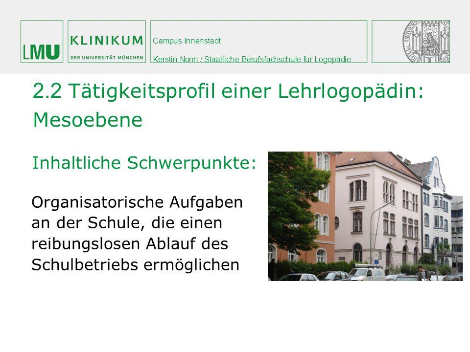 Campus Innenstadt Kerstin Nonn / Staatliche Berufsfachschule für Logopädie Inhaltliche Schwerpunkte: 2.2 Tätigkeitsprofil einer Lehrlogopädin: Mesoebe