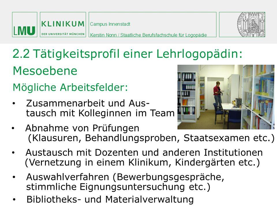 Campus Innenstadt Kerstin Nonn / Staatliche Berufsfachschule für Logopädie Mögliche Arbeitsfelder: 2.2 Tätigkeitsprofil einer Lehrlogopädin: Mesoebene
