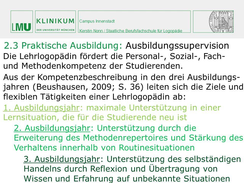 Campus Innenstadt Kerstin Nonn / Staatliche Berufsfachschule für Logopädie 2.3 Praktische Ausbildung: Ausbildungssupervision Die Lehrlogopädin fördert