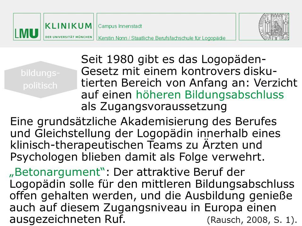 Campus Innenstadt Kerstin Nonn / Staatliche Berufsfachschule für Logopädie Eine grundsätzliche Akademisierung des Berufes und Gleichstellung der Logop