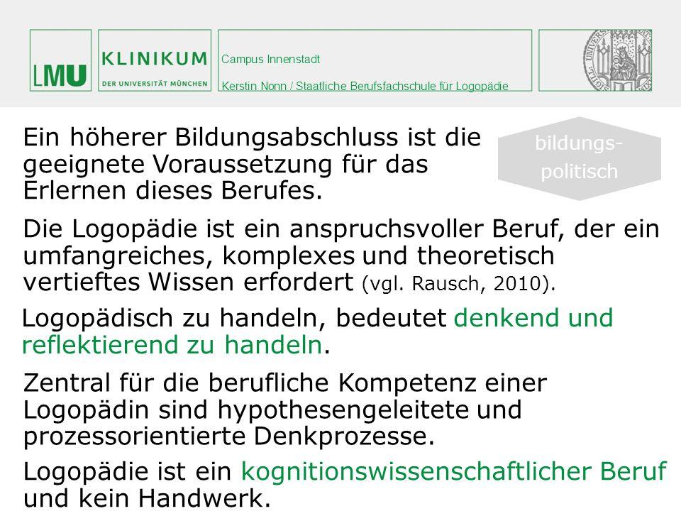 Campus Innenstadt Kerstin Nonn / Staatliche Berufsfachschule für Logopädie Den gesetzlichen Rahmen bilden das Sozialgesetz- buch und die Heilmittel-Richtlinien.