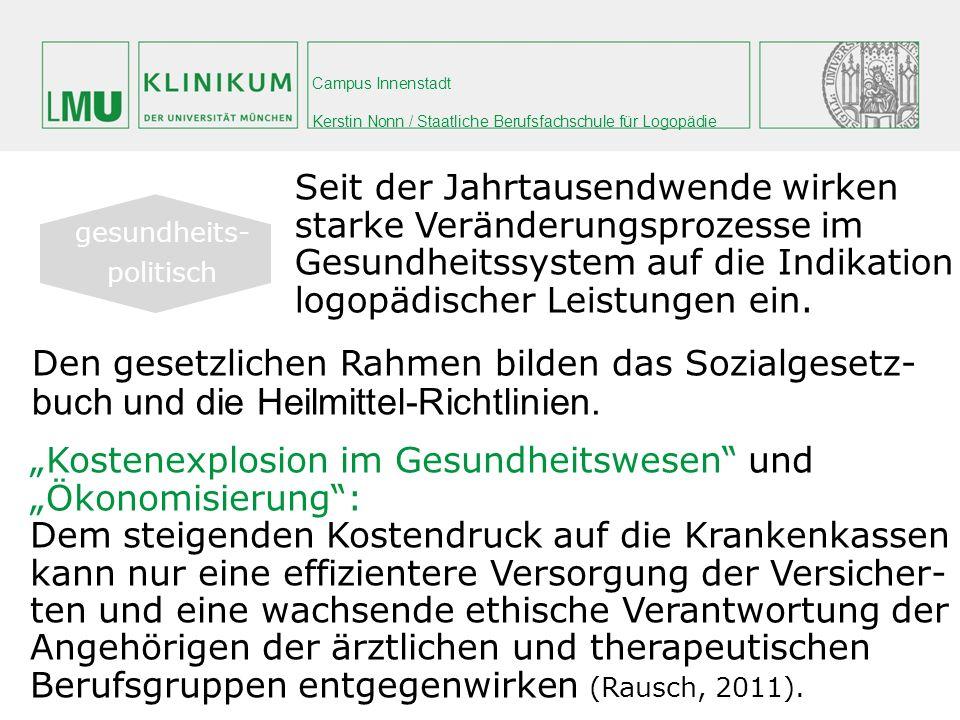 Campus Innenstadt Kerstin Nonn / Staatliche Berufsfachschule für Logopädie Den gesetzlichen Rahmen bilden das Sozialgesetz- buch und die Heilmittel-Ri