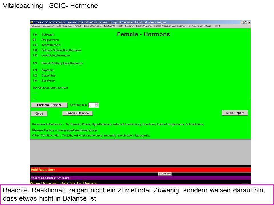 Female - Hormons Vitalcoaching SCIO- Hormone Beachte: Reaktionen zeigen nicht ein Zuviel oder Zuwenig, sondern weisen darauf hin, dass etwas nicht in