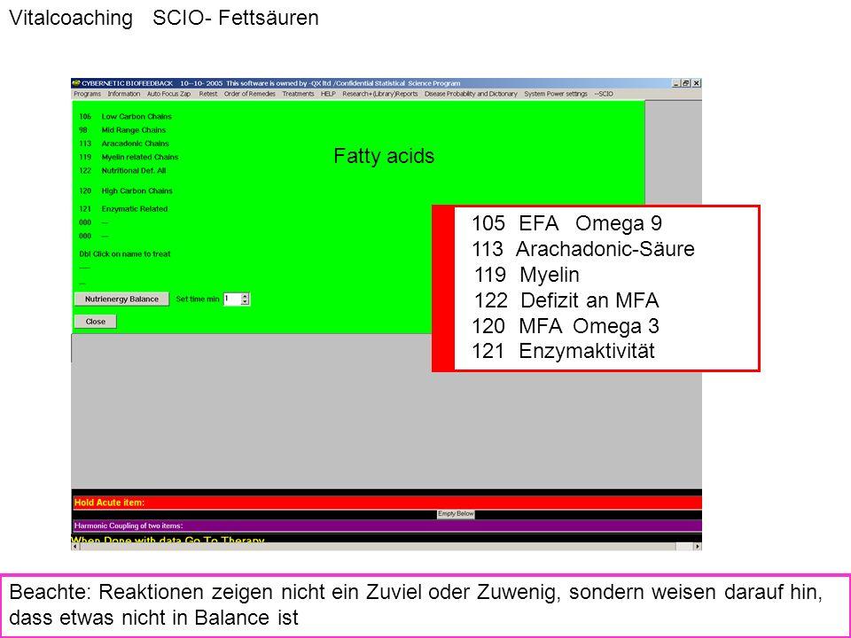 Fatty acids Vitalcoaching SCIO- Fettsäuren Beachte: Reaktionen zeigen nicht ein Zuviel oder Zuwenig, sondern weisen darauf hin, dass etwas nicht in Ba