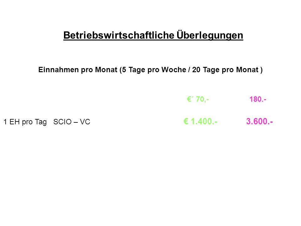 Betriebswirtschaftliche Überlegungen Einnahmen pro Monat (5 Tage pro Woche / 20 Tage pro Monat ) ´ 70,- 180.- 1 EH pro Tag SCIO – VC 1.400.- 3.600.-