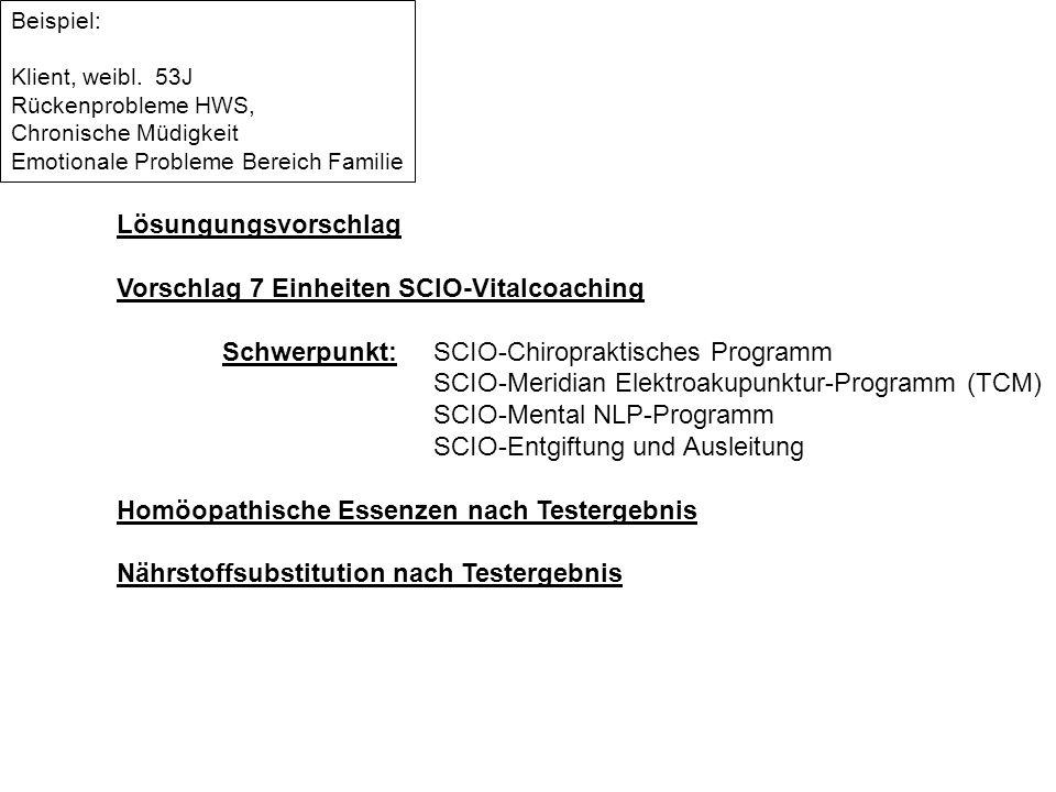 Lösungungsvorschlag Vorschlag 7 Einheiten SCIO-Vitalcoaching Schwerpunkt:SCIO-Chiropraktisches Programm SCIO-Meridian Elektroakupunktur-Programm (TCM)