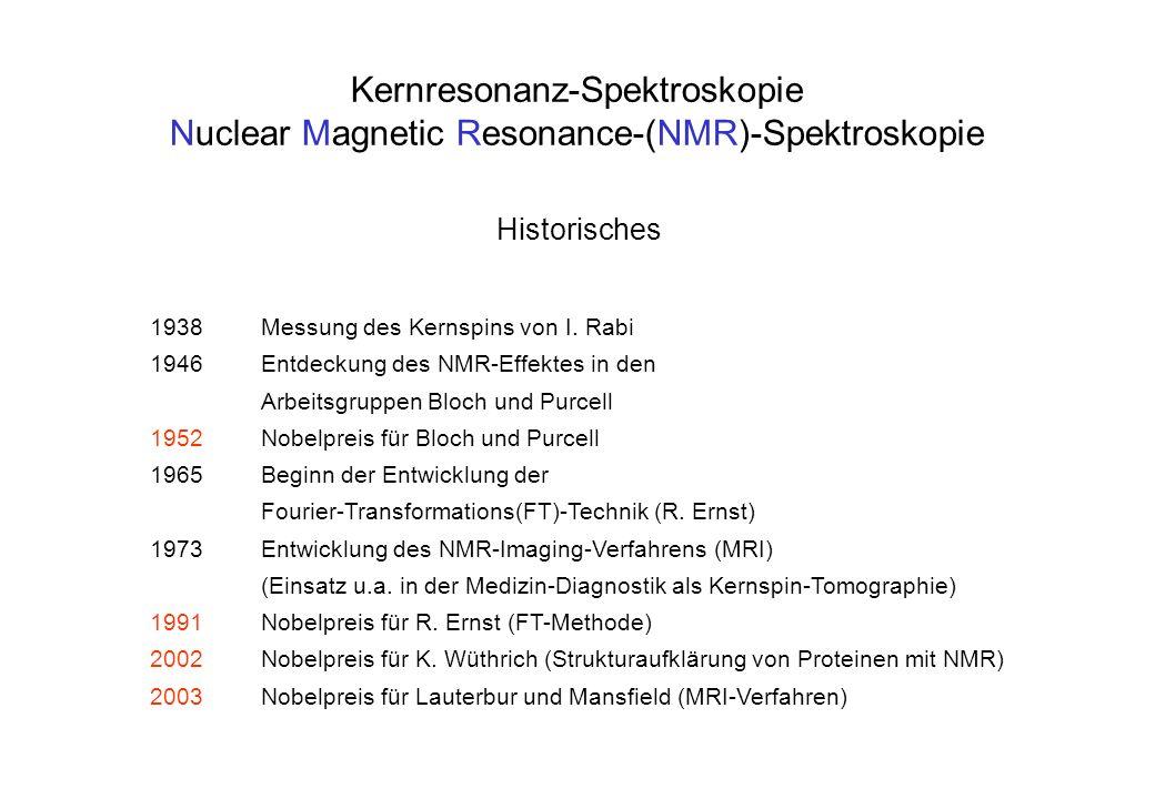 Kernresonanz-Spektroskopie Nuclear Magnetic Resonance-(NMR)-Spektroskopie Historisches 1938Messung des Kernspins von I. Rabi 1946Entdeckung des NMR-Ef