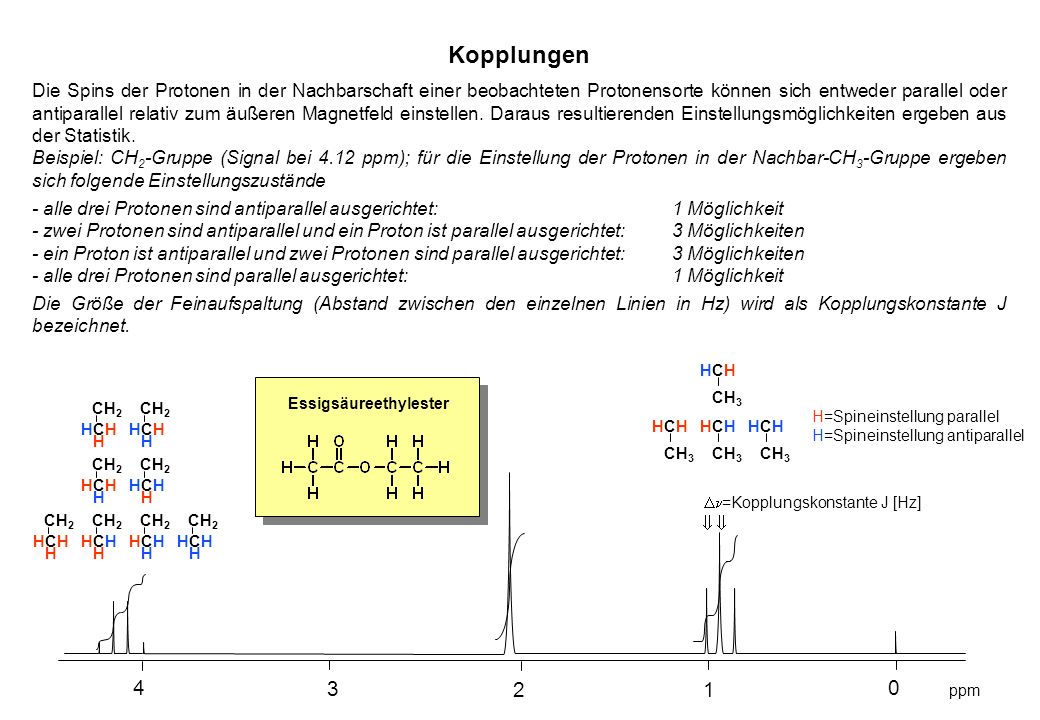 ppm H=Spineinstellung parallel H=Spineinstellung antiparallel 0 1 2 3 4 =Kopplungskonstante J [Hz] HCHHCH CH 2 H HCHHCH H HCHHCH H HCHHCH H HCHHCH H H