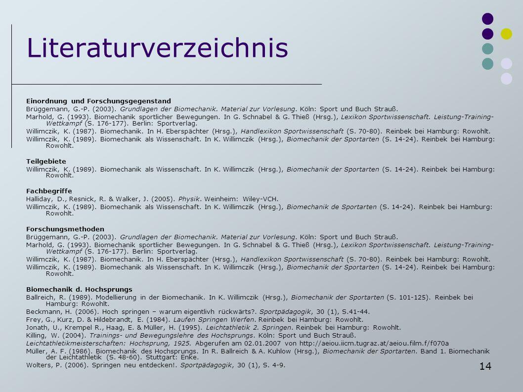 14 Literaturverzeichnis Einordnung und Forschungsgegenstand Brüggemann, G.-P. (2003). Grundlagen der Biomechanik. Material zur Vorlesung. Köln: Sport