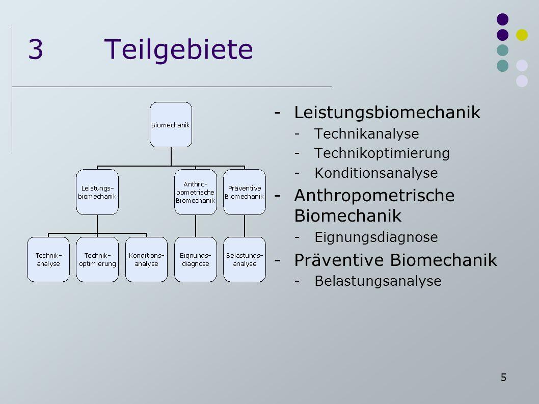 5 3Teilgebiete -Leistungsbiomechanik -Technikanalyse -Technikoptimierung -Konditionsanalyse -Anthropometrische Biomechanik -Eignungsdiagnose -Präventi