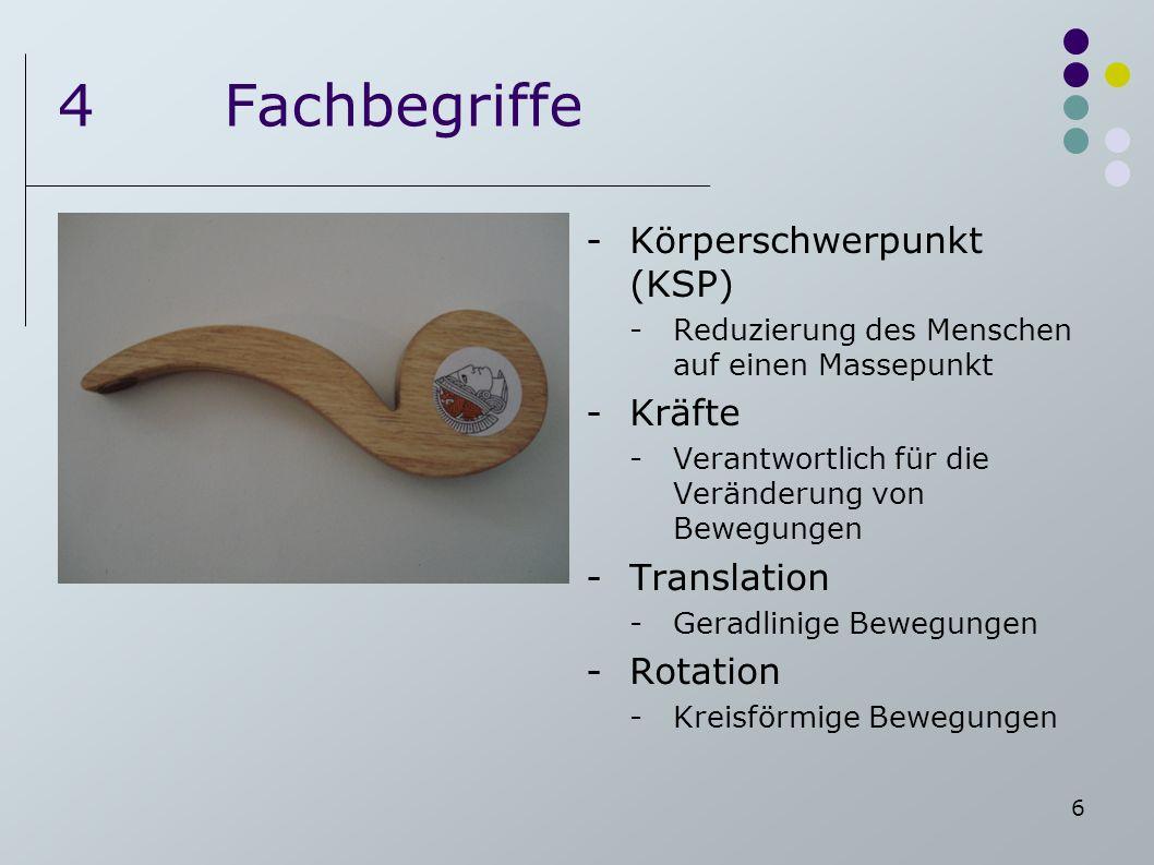 6 4Fachbegriffe -Körperschwerpunkt (KSP) -Reduzierung des Menschen auf einen Massepunkt -Kräfte -Verantwortlich für die Veränderung von Bewegungen -Tr