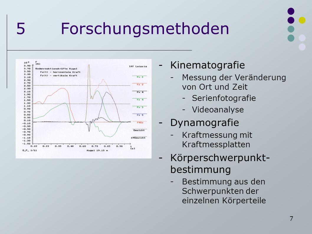 7 5Forschungsmethoden -Kinematografie -Messung der Veränderung von Ort und Zeit -Serienfotografie -Videoanalyse -Dynamografie -Kraftmessung mit Kraftm