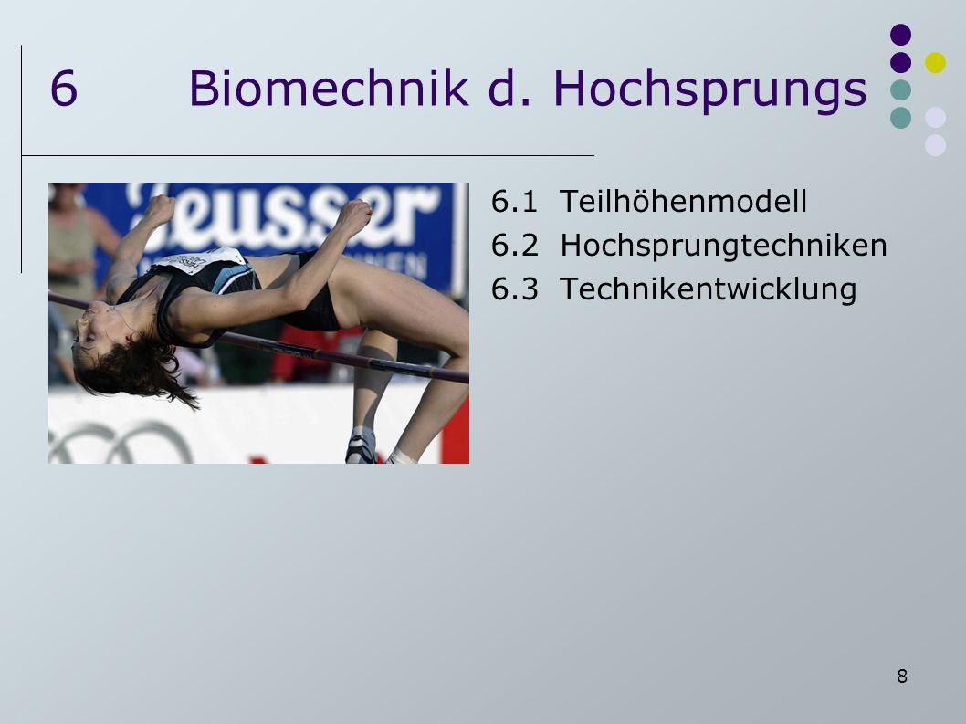 8 6Biomechnik d. Hochsprungs 6.1Teilhöhenmodell 6.2Hochsprungtechniken 6.3Technikentwicklung