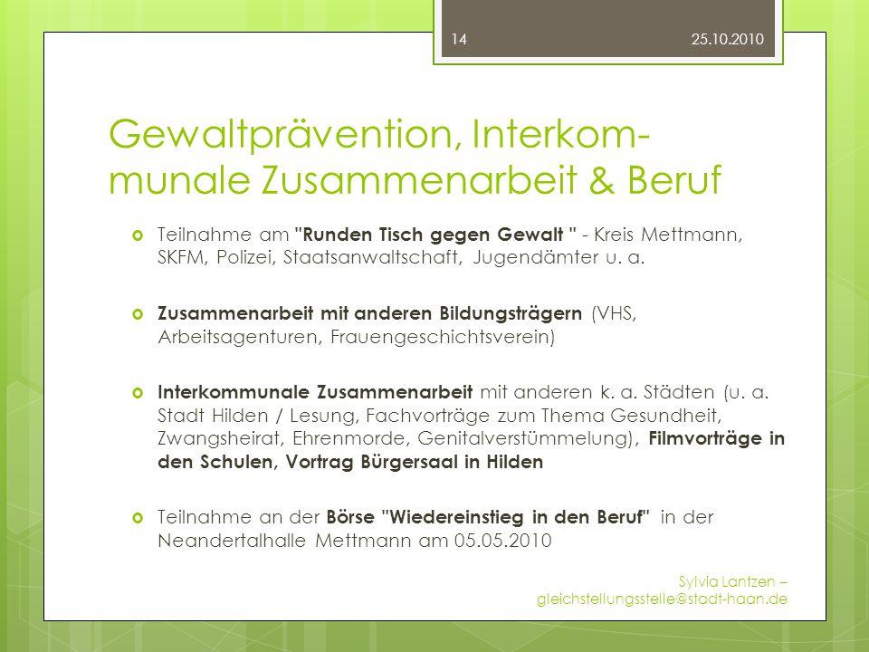 Gewaltprävention, Interkom- munale Zusammenarbeit & Beruf Teilnahme am