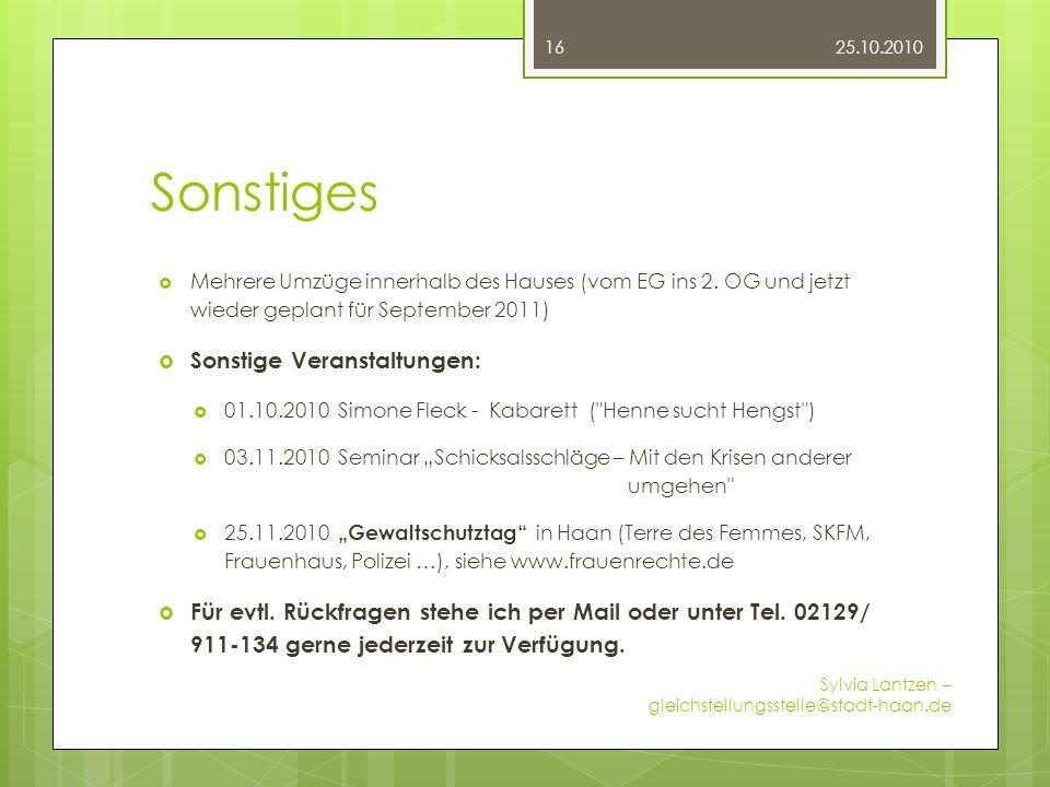 Sonstiges Mehrere Umzüge innerhalb des Hauses (vom EG ins 2. OG und jetzt wieder geplant für September 2011) Sonstige Veranstaltungen: 01.10.2010 Simo