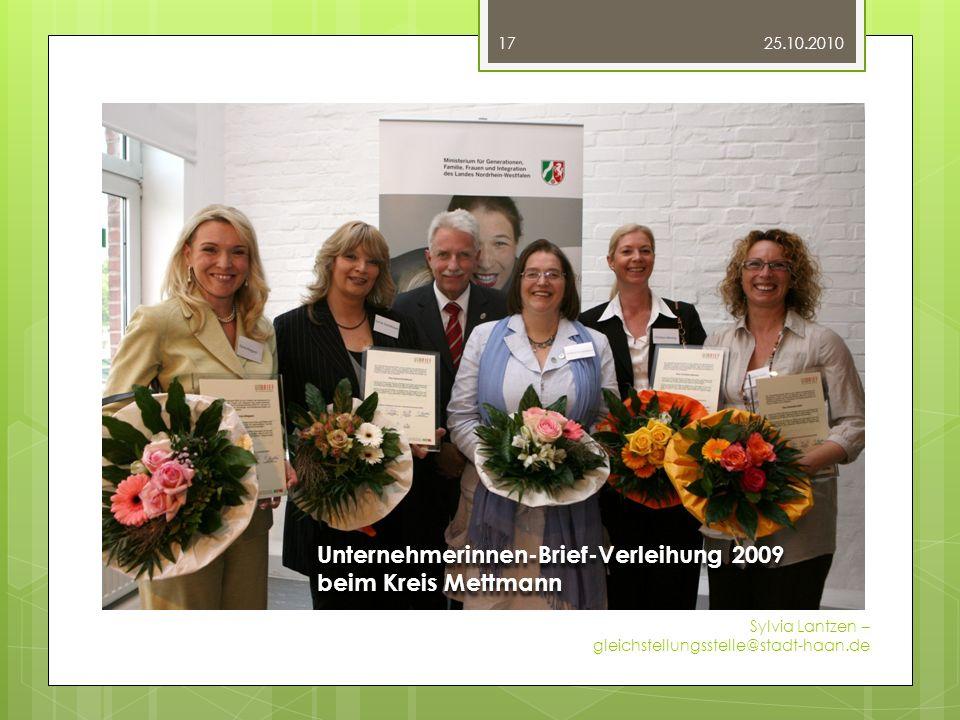 Fotos 25.10.2010 Sylvia Lantzen – gleichstellungsstelle@stadt-haan.de 17 Unternehmerinnen-Brief-Verleihung 2009 beim Kreis Mettmann