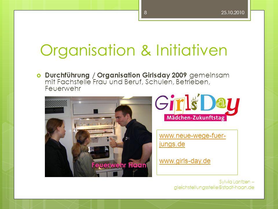 Organisation & Initiativen Durchführung / Organisation Girlsday 2009 gemeinsam mit Fachstelle Frau und Beruf, Schulen, Betrieben, Feuerwehr 25.10.2010
