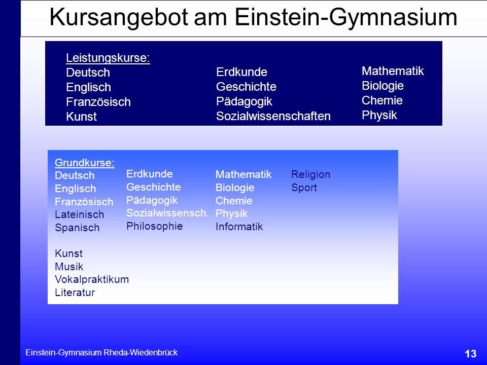Einstein-Gymnasium Rheda-Wiedenbrück 13 Grundkurse: Deutsch Englisch Französisch Lateinisch Spanisch Kunst Musik Vokalpraktikum Literatur Erdkunde Ges