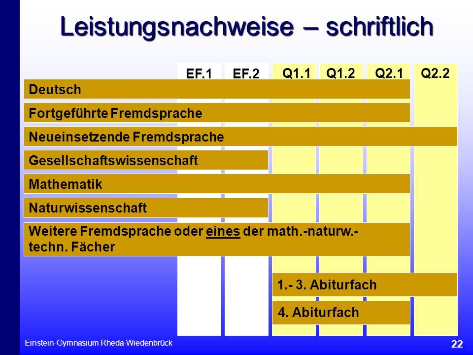 Einstein-Gymnasium Rheda-Wiedenbrück 22 Leistungsnachweise – schriftlich Q1.2Q1.1 EF.2EF.1 Q2.1Q2.2 Deutsch Fortgeführte Fremdsprache Neueinsetzende F