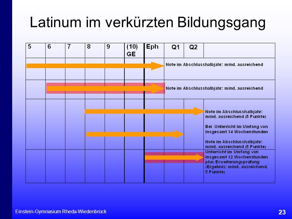 Einstein-Gymnasium Rheda-Wiedenbrück 23 Latinum im verkürzten Bildungsgang Q2Q1