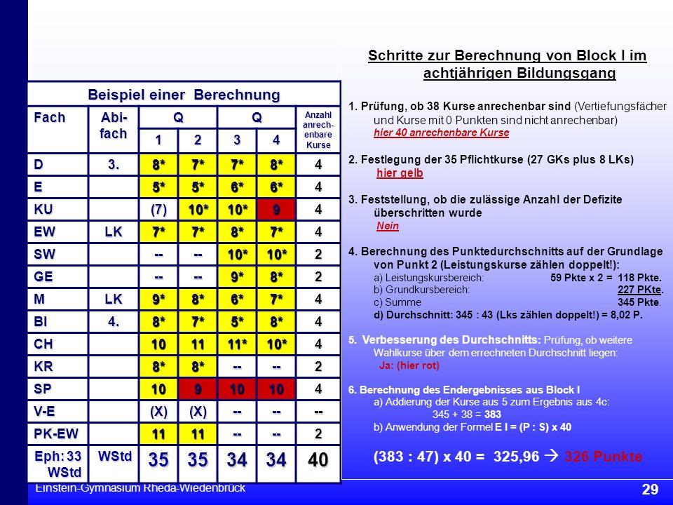 Einstein-Gymnasium Rheda-Wiedenbrück 29 Beispiel einer Berechnung Fach Abi- fach QQ Anzahl anrech- enbare Kurse 1234 D3.8*7*7*8*4 E5*5*6*6*4 KU(7)10*1