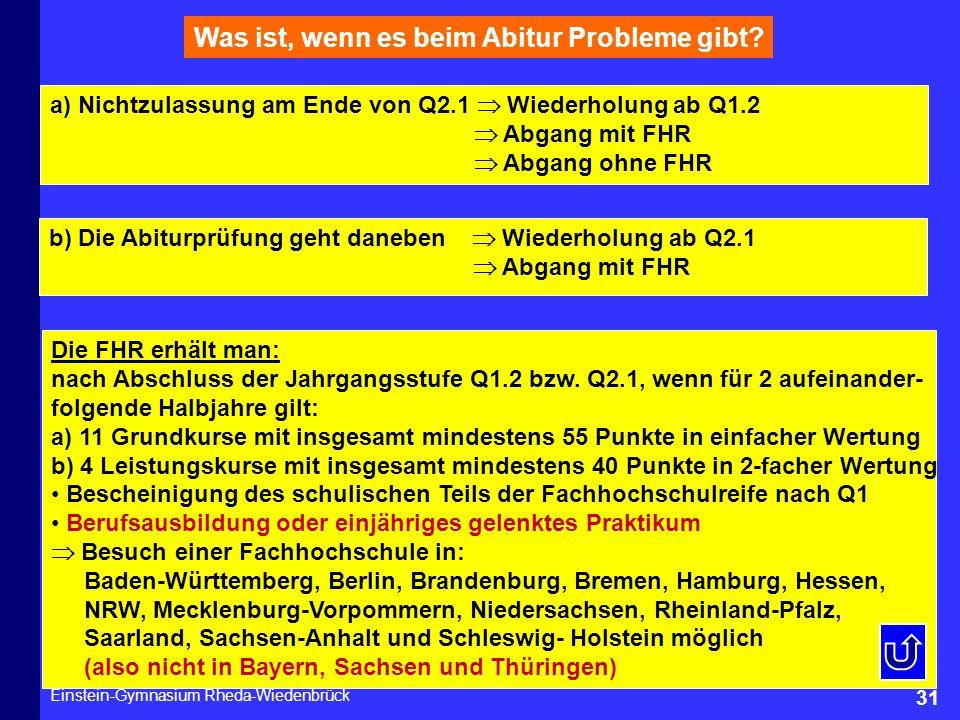 Einstein-Gymnasium Rheda-Wiedenbrück 31 Was ist, wenn es beim Abitur Probleme gibt? Die FHR erhält man: nach Abschluss der Jahrgangsstufe Q1.2 bzw. Q2