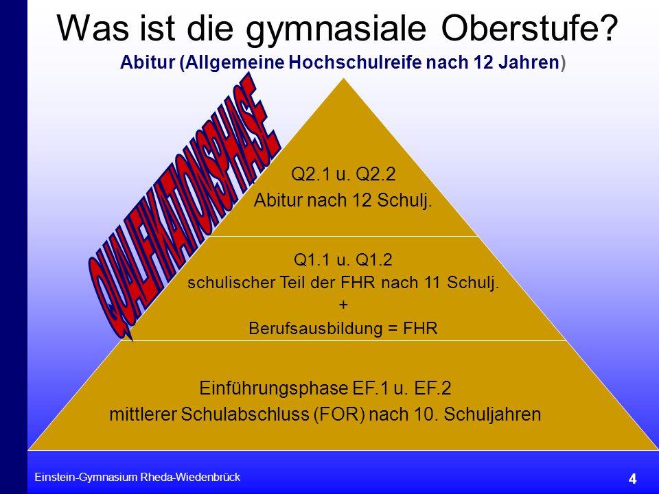 Einstein-Gymnasium Rheda-Wiedenbrück 4 Was ist die gymnasiale Oberstufe? Abitur (Allgemeine Hochschulreife nach 12 Jahren) Q2.1 u. Q2.2 Abitur nach 12