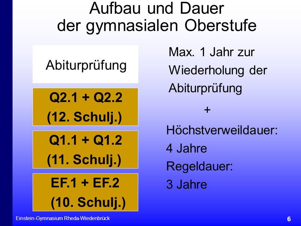 Einstein-Gymnasium Rheda-Wiedenbrück 6 Aufbau und Dauer der gymnasialen Oberstufe EF.1 + EF.2 (10. Schulj.) Q1.1 + Q1.2 (11. Schulj.) Q2.1 + Q2.2 (12.
