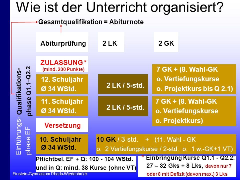 Einstein-Gymnasium Rheda-Wiedenbrück 7 Wie ist der Unterricht organisiert? Einführungs- phase EF 10. Schuljahr Ø 34 WStd. 10 GK / 3-std. + ( 11. Wahl