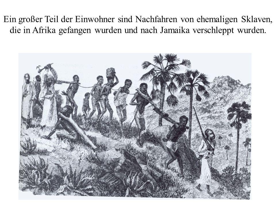 Ein großer Teil der Einwohner sind Nachfahren von ehemaligen Sklaven, die in Afrika gefangen wurden und nach Jamaika verschleppt wurden.