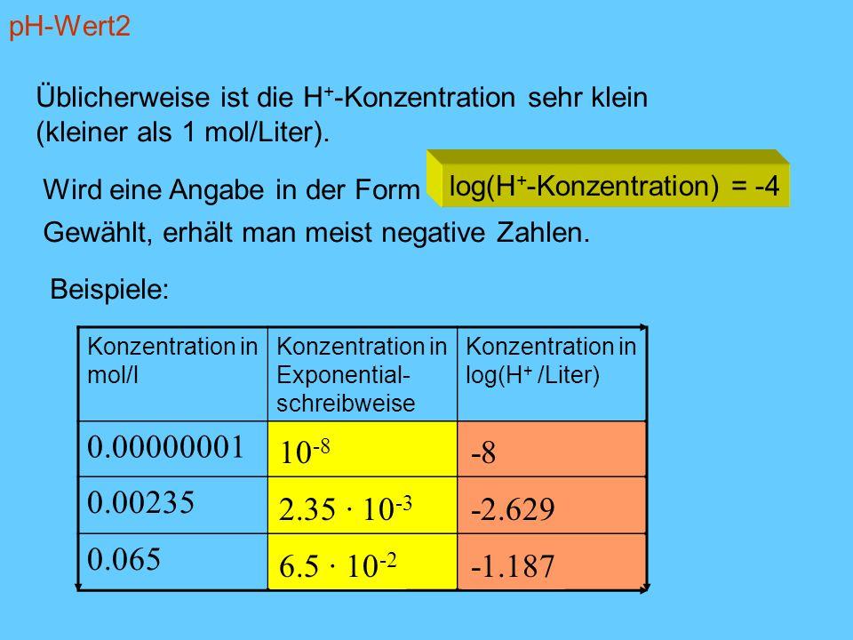pH-Wert2 Üblicherweise ist die H + -Konzentration sehr klein (kleiner als 1 mol/Liter). Wird eine Angabe in der Form log(H + -Konzentration) = -4 Gewä