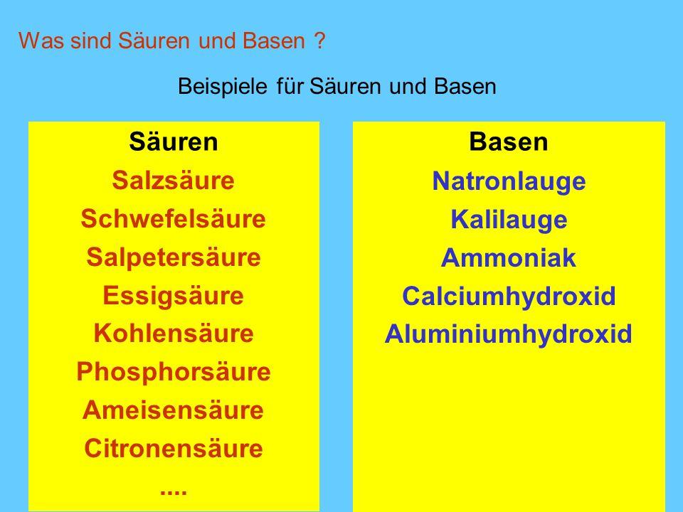 Basen Natronlauge Kalilauge Ammoniak Calciumhydroxid Aluminiumhydroxid Beispiele für Säuren und Basen Was sind Säuren und Basen ? Säuren Salzsäure Sch