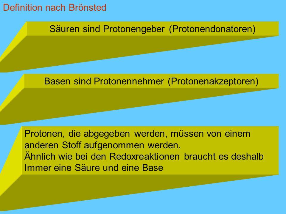 Säuren sind Protonengeber (Protonendonatoren) Basen sind Protonennehmer (Protonenakzeptoren) Protonen, die abgegeben werden, müssen von einem anderen
