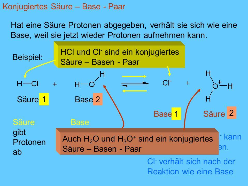 Hat eine Säure Protonen abgegeben, verhält sie sich wie eine Base, weil sie jetzt wieder Protonen aufnehmen kann. Beispiel: Säure gibt Protonen ab Bas