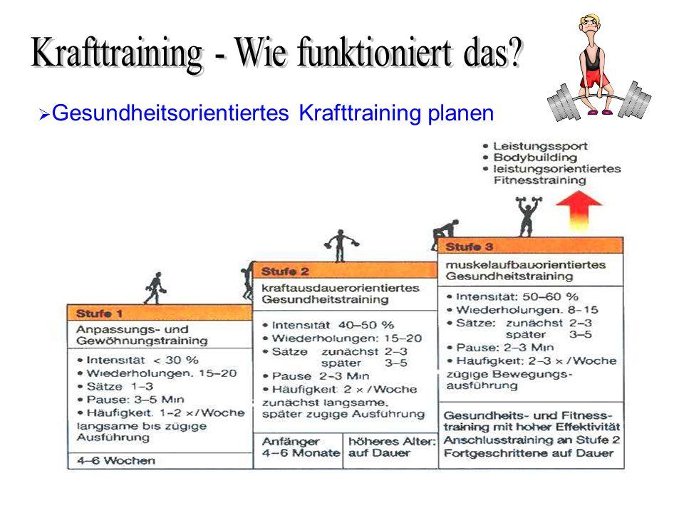Gesundheitsorientiertes Krafttraining planen nach Geiger, 1999