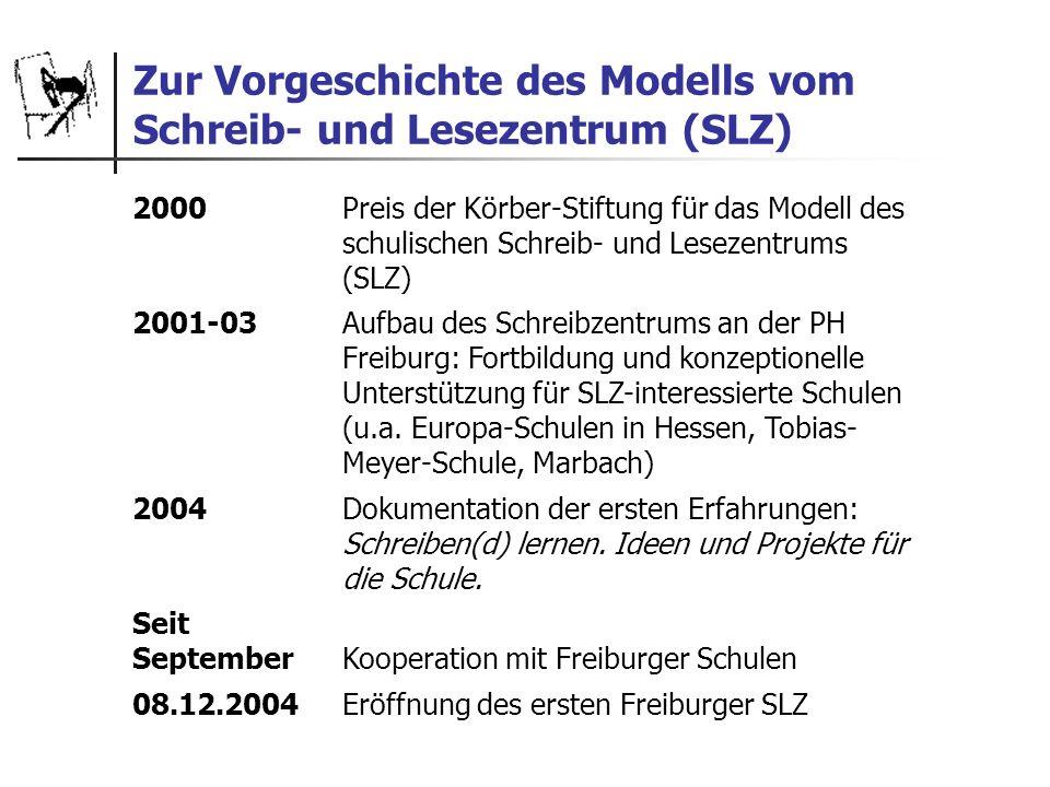 Zur Vorgeschichte des Modells vom Schreib- und Lesezentrum (SLZ) 2000 Preis der Körber-Stiftung für das Modell des schulischen Schreib- und Lesezentru