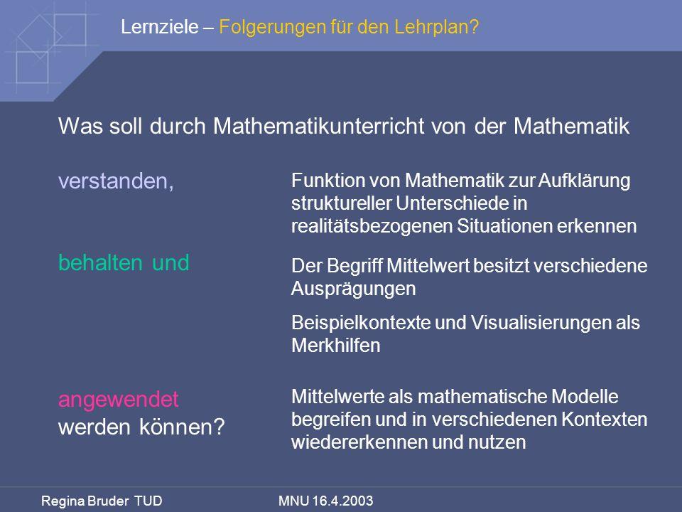 Regina Bruder TUD MNU 16.4.2003 Was soll durch Mathematikunterricht von der Mathematik verstanden, behalten und angewendet werden können? Lernziele –