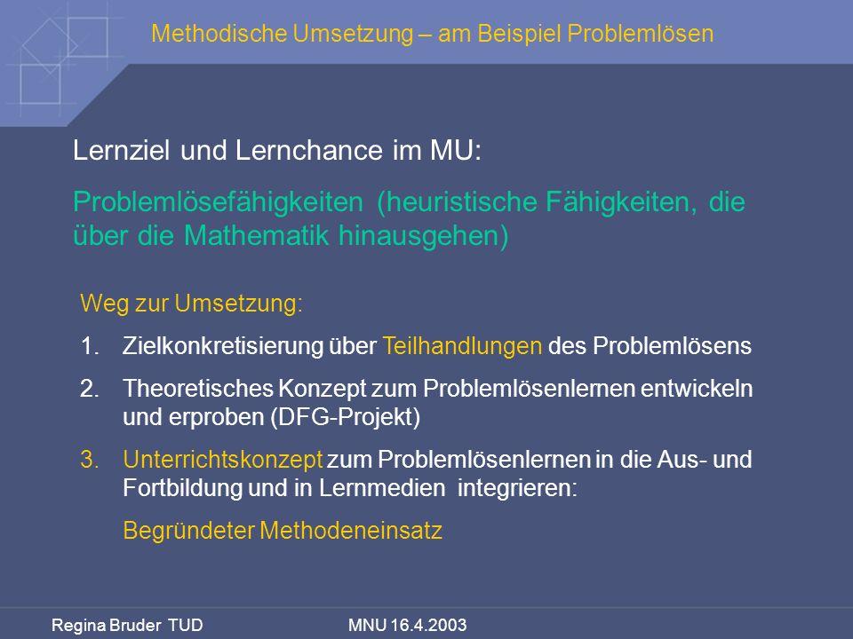 Regina Bruder TUD MNU 16.4.2003 Methodische Umsetzung – am Beispiel Problemlösen Lernziel und Lernchance im MU: Problemlösefähigkeiten (heuristische F